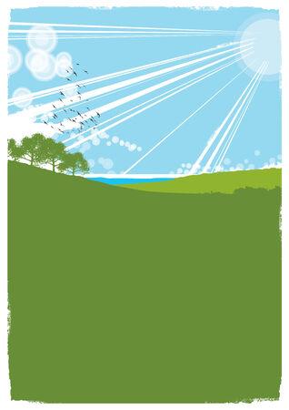 rural area: Summer landscape background with large copy area. Illustration