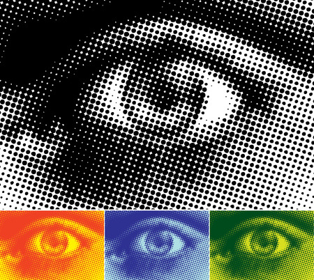 rasterized: Vectored illustration of a human eye in halftone dots. Four colour variations.