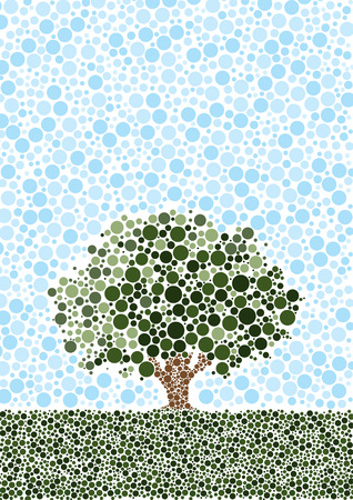 Abstract tree set in a lower third landscape with blue sky. Constructed from 1000s of dots.