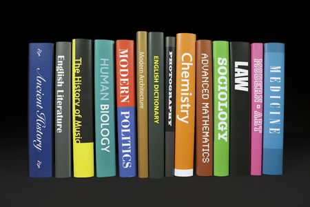 Books on black (various mocked up subjects) Stock Photo - 6907405