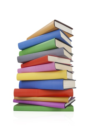 with spines: Stack of books on white Stock Photo