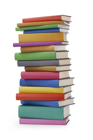 stack of papers: Stack of books on white Stock Photo