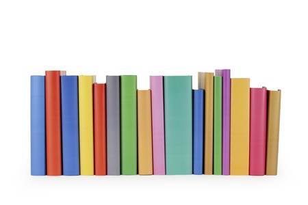 book spines: Row of books on white background.