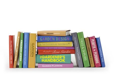 A row of Gardening Books with fictional titles Stok Fotoğraf