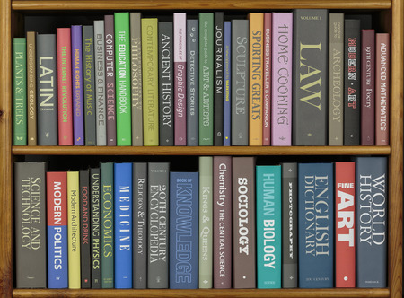 book jacket: Bookcase full of books, various (fictitious) subjects.