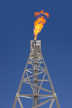 Oil rig gas flare tower