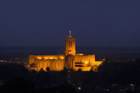 Guildford Cathedral at night. Surrey, UK. Stok Fotoğraf