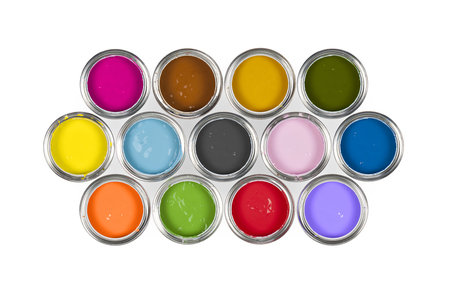 Arrangement of 13 paint tins on white background.