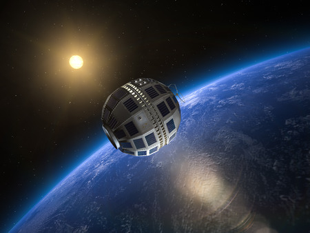 Telstar 1, the Worlds first transatlantic broadcast satellite in Earth orbit, 1962 Banco de Imagens