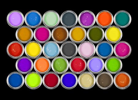 Anordnung der Farbdosen auf Schwarz. Standard-Bild - 87763404