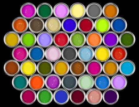 Boîtes de peinture colorées sur fond noir. Banque d'images - 87763405