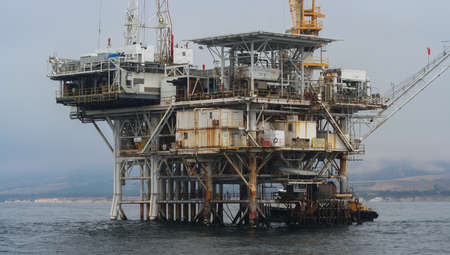 A closeup of the inner workings of Platform Holly, an oil platform off the coast of California