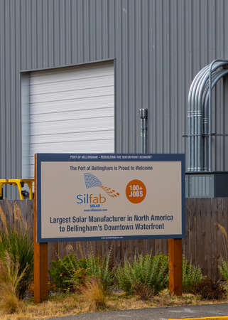 Bellingham, WA / USA - June 28, 2019: Illustrative editorial image of Silfab Solar factory, the largest solar manufacturere in North America, which employs over 100 people in new green jobs in Bellingham