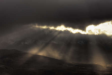 Breaking Light Beams over Mount Rose Wilderness and Southern Reno, Nevada