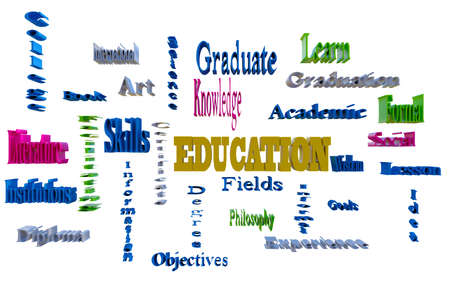 facilitating: colorful education word cloud, 3d render on white background