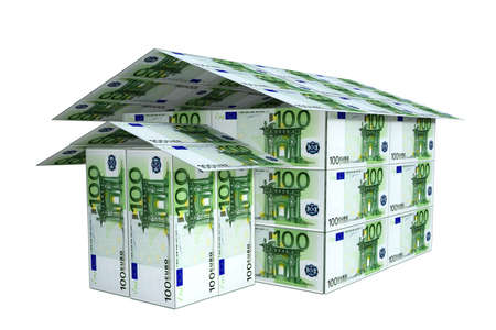 built: house built from euro notes, 3D render