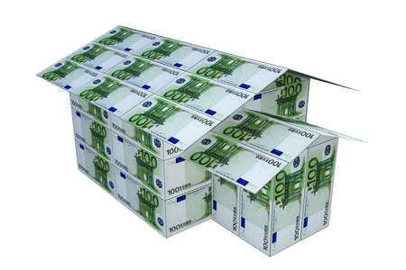 billets euros: maison construite de billets en euros, 3D render