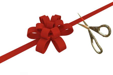Gran apertura con unas tijeras y una cinta roja sobre un fondo blanco