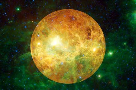 Planet Venus. Solar system. Cosmos art.