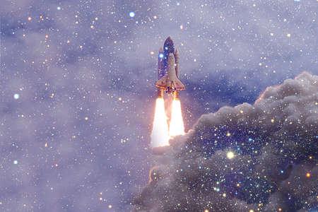Space Shuttle Atlantis. Cosmos art.