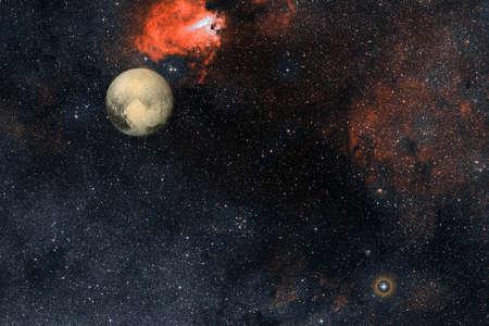 Pluto. Solar system. Cosmos art
