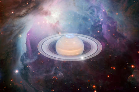 Planet Saturn. Solar system. Cosmos art.