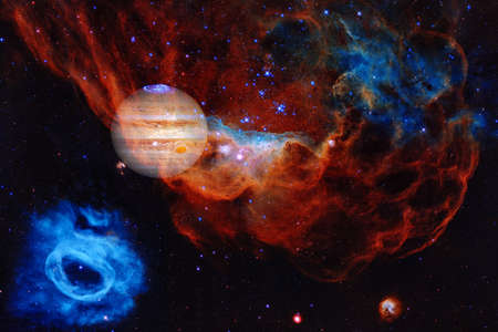 Jupiter. Solar system. Cosmos art. Elements of this image furnished by NASA Foto de archivo