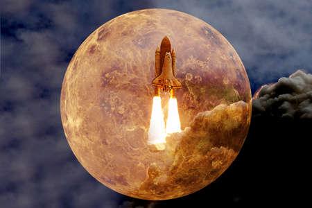 Planet Venus. Solar system. Cosmos art. Stock fotó