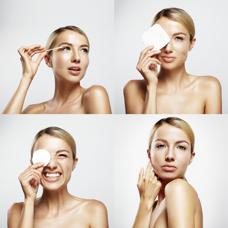 remover: set with a four portraits of a pretty woman, cleansing her skin and make it fun