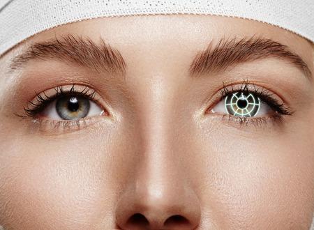 pretty woman eyes closeup looking at camera. laser correction photo