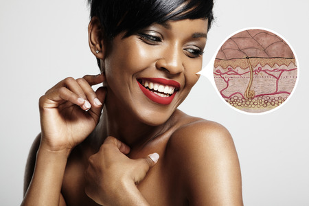 skin structure: pretty smiling woman with a skin structure note