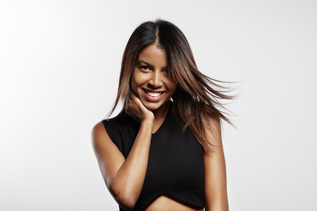black woman with flattering hairs Stockfoto