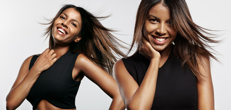 pret black woman with a stright hair Stockfoto