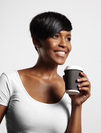 happy black woman with cup of coffe Stockfoto