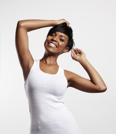 armpit hair: dancing black woman Stock Photo