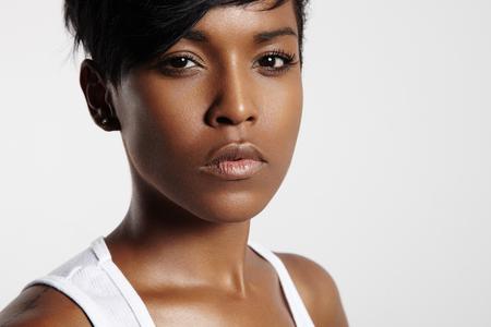 ideal: serious woman looking at camera Stock Photo
