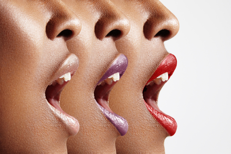 mouth  open: three womans profiles with different lip color