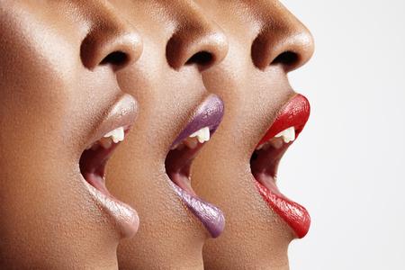 femme bouche ouverte: trois profils de femme avec une couleur diff�rente de la l�vre