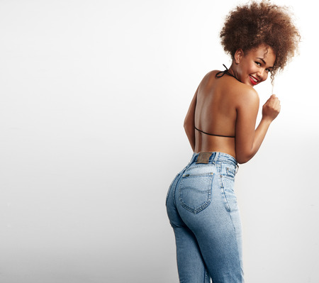 black ass: black woman from the back Stock Photo