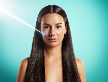 woman's laser cosmetology or surgery