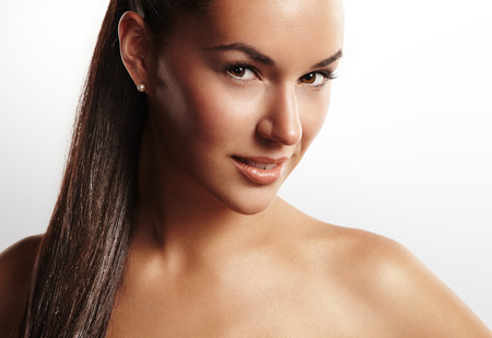 beauty woman with a ponytail photo