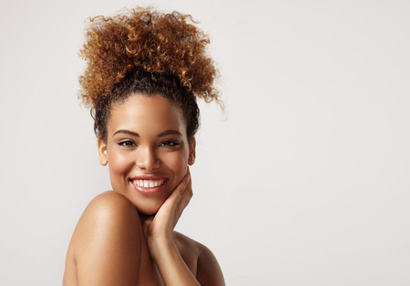 closeup portrait of a black woman with ideal skin Archivio Fotografico