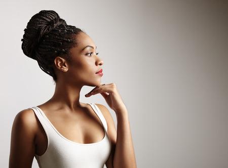 黒人女性プロフィール 写真素材