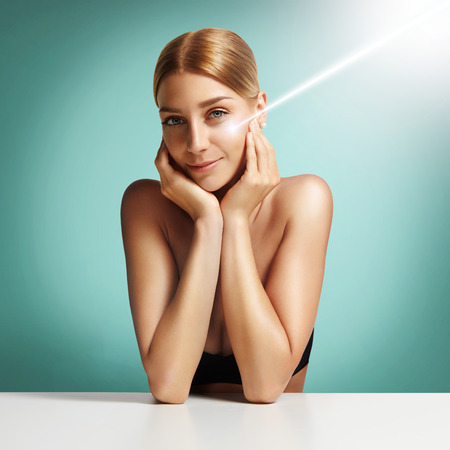 skin protection: concept of a laser surgery and cosmetology and SPF protection