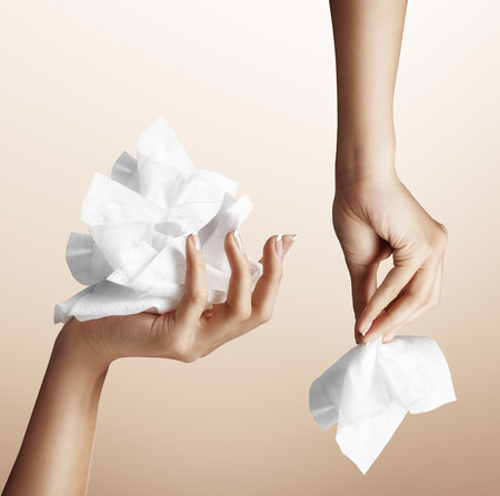 makeup remove, wipes on woman hands photo