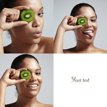 set of a 3 photo woman with a kiwi slice and a space for text photo