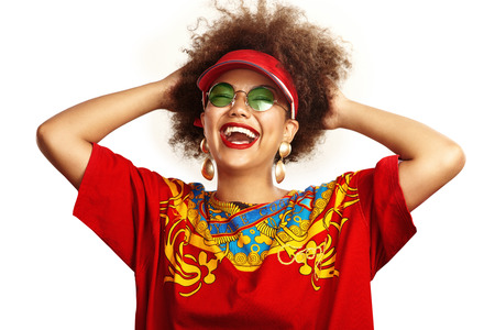 crazy girl: crazy afro swag girl in a red t-shirt and sunglasses