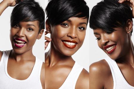 mooie zwarte vrouw met een andere lippenstift Stockfoto