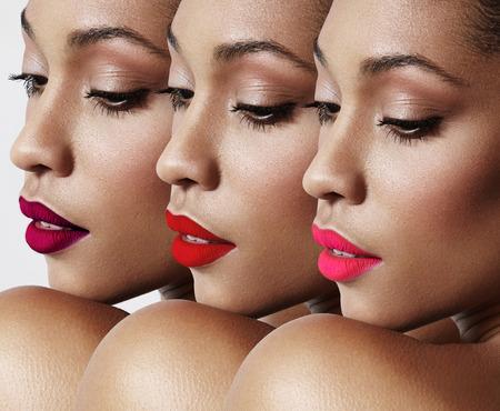 schwarze frau nackt: Sch�nheit Frau mit einer hellen Lippen Collage Lizenzfreie Bilder
