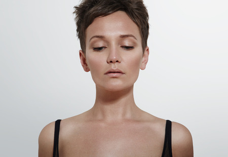 pretty woman looking down
